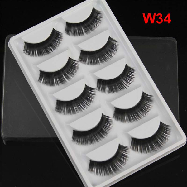 Thick Natural Long False Eyelashes 5 pairs pack Synthetic Hair handmade Fake Lashes 11 styles available DHL Free
