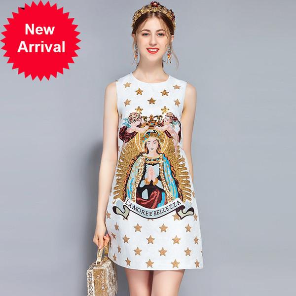 New 2018 Fashion Runway Summer Dress Women's Sleeveless Luxury Sequin Beading Vintage Angel Printed Short Dress
