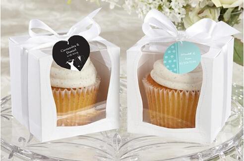 Atacado New Hot Wedding 9x9 Cupcake Boxes Caixa de Presente de Casamento Favor Caixa de 100 Peças / lote Frete Grátis