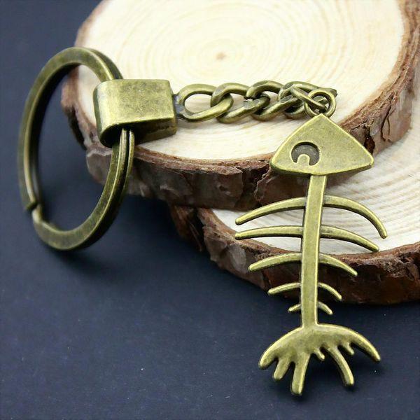 6 pieces key chain women key rings couple keychain for keys fish bone 42x21mm
