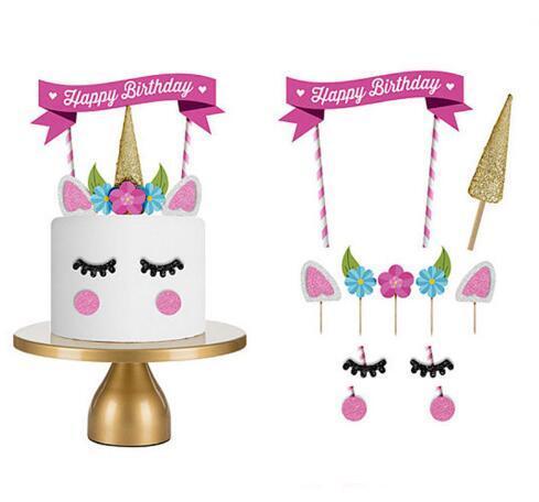 Unicornio Cake Toppers Unicornio Horn Ears Decoraciones para pastel Magdalenas Baby Birthday Party Decoraciones Herramientas para hornear