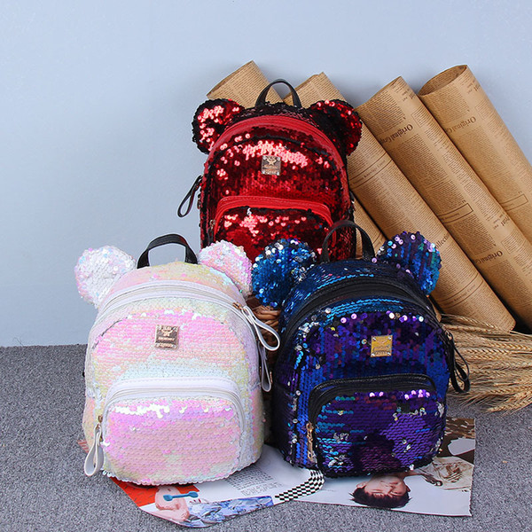Fashion Girls Backpack Cartoon Mickey Big Ears Sequins Shoulders Bag Teenager Children School Bags Girls Leisure Travel Bags Christmas Gifts