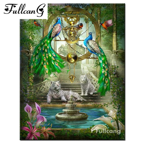 best selling FULLCANG 5d diamond painting mosaic peacock tigers full rhinestone cross stitch square diamond embroidery animals painting E1387