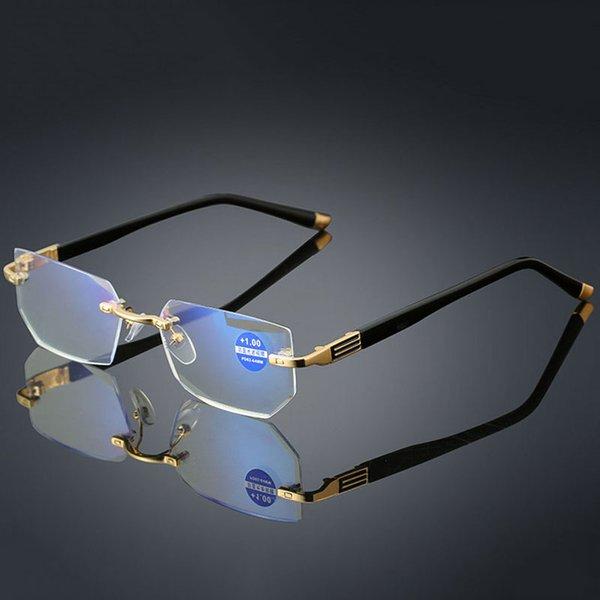 Anti-blue light Reading Eyeglasses Presbyopic Spectacles Clear Glass Lens Unisex Rimless Glasses Frame of Glasses Strength +1.0 ~ +4.0