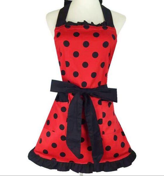 Wholesale bulk lot Princess style Red apron with black Polka dot kitchen cooking baking Apron