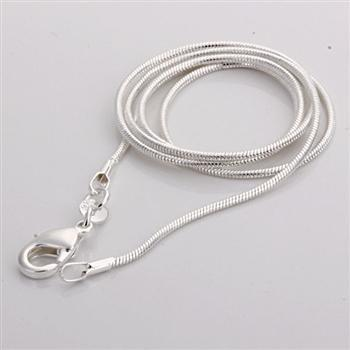 whole saleC008 Cheap Hot 1MM Thin Top quality 925 stamped silver plated Snake Chain Jewelry Findings 16