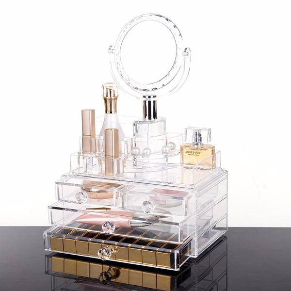 Big Storage Clear Lipstick Storage Box Acrylic Transparent Acrylic Makeup Cosmetic Makeup Organizer With Mirror