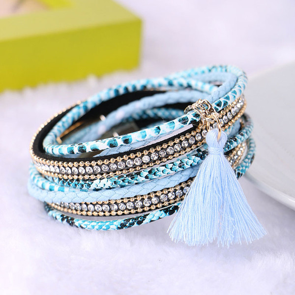 Rhinestone Leather Bracelet Femme Braided Multilayer 2018 Brazilian Beach Magnet Buckle Tassel Friendship Bracelets Boho Jewelry