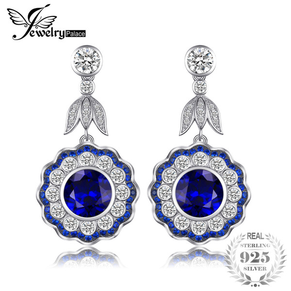 JewelryPalace Luxury 7.0ct Created Sapphire Flower Drop Earrings Real 925 Sterling Silver Jewelry Birthday Gift for Girlfriend