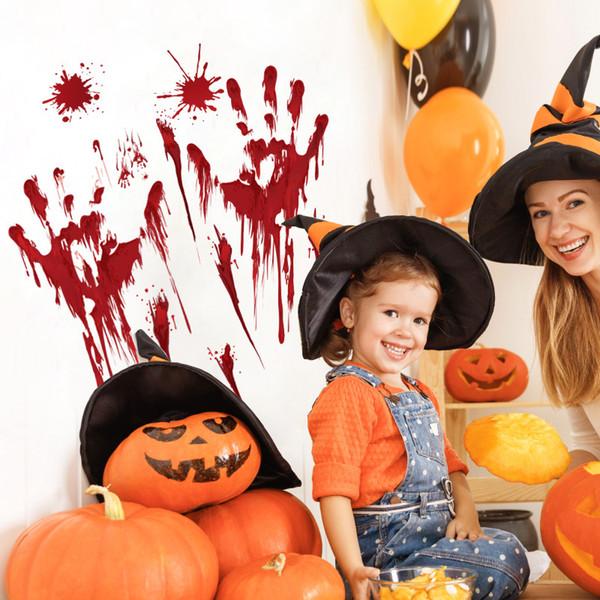 Halloween Scary Aufkleber Blut Fingerabdruck Fußabdruck Kürbis Paster Party Dekor Ornament Mark für Wand Fenstertür
