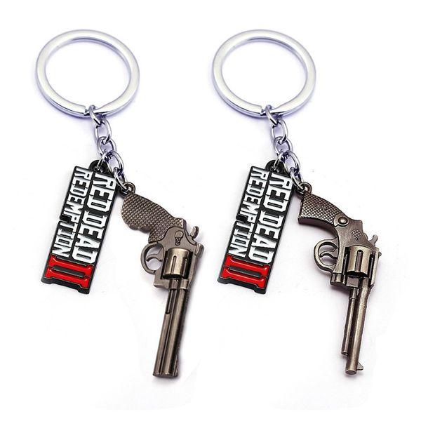 3D Metalllegierung Schlüsselanhänger Red Dead Redemption Schlüsselanhänger Fans Favor Geschenk Anhänger Brief Guns Schlüsselanhänger Ornament Dekorationen für Handytaschen