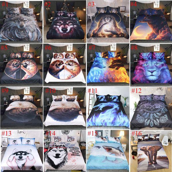 Biancheria da letto di stampa 3D reattiva imposta lenzuola animali Lupo Leopardo Tiger Lion Panda Flower 3 pezzi Queen size