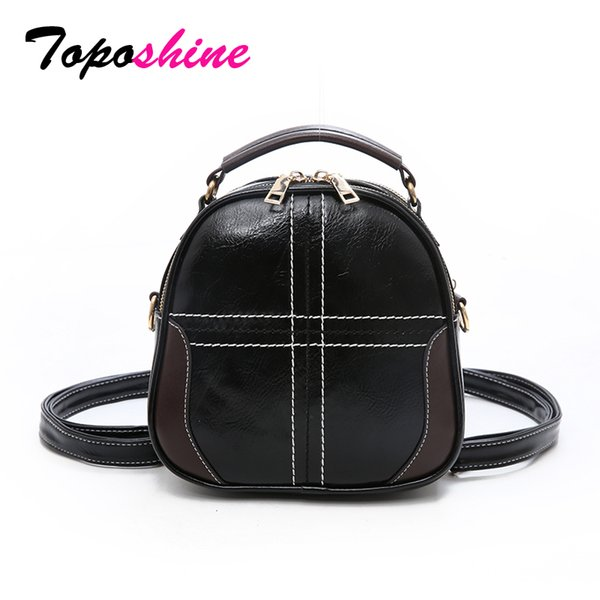 Toposhine Korean Fashion Small Women Handbag Cross Thread Solid PU Leather Girl Back Pack Simple Style Female Shoulder Bags 2018