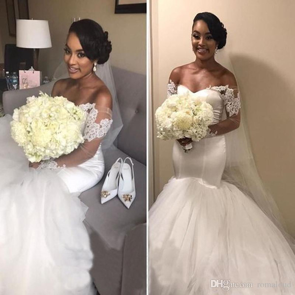 Arabic Dubai African Lace Wedding Dresses Mermaid Applique Wedding