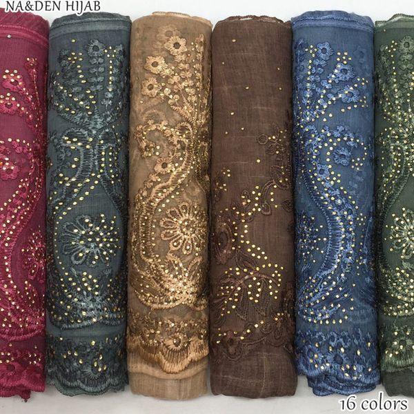 NEW gold rhinestone edges hijab scarf lace shawl embroidery flower fashion women scarves shawls brand wrap soft muffler 16colors