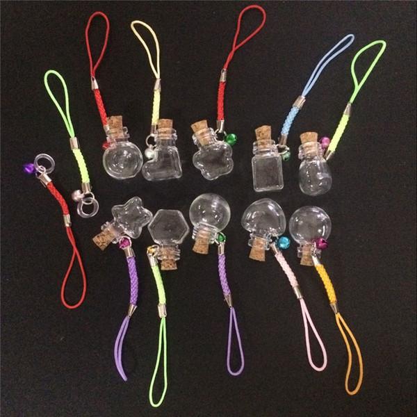 Mini Glass Bottles Pendants with Chain Small Wishing Bottles Glass Vial Arts Jars For Key Bracelets Gift Bottles Mixed 10 Shapes