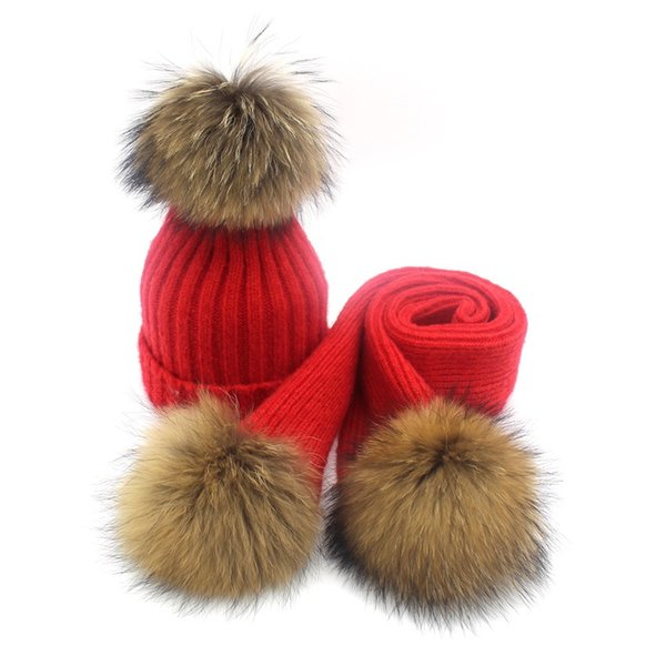 Lady Blinger creative pom pom knitted hat scarf wool knitted scarf adult kids real reaccoon fur and beanie set