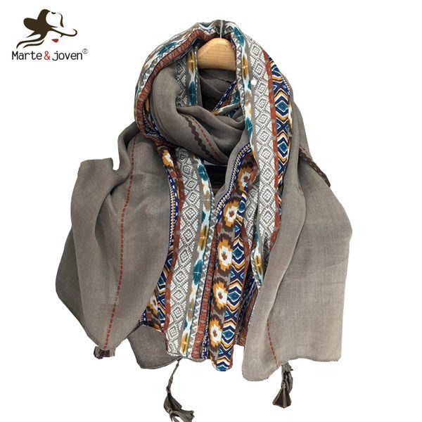 Marte&Joven Ethnic Style Autumn/Winter Long Scarf Shawls for Women Classic Geometric Pattern Warm Tassels Khaki Pashmina Wraps D18102406