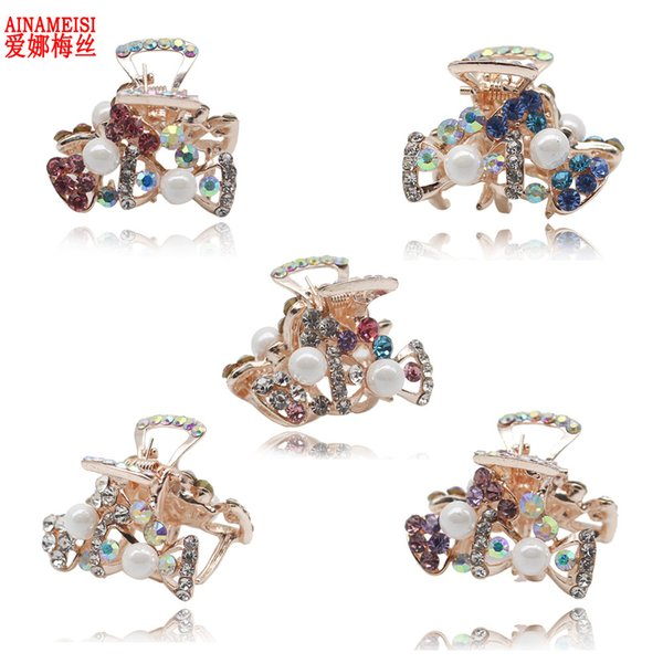 5 pcs/set Cute Butterfly Crab Hairpain Pearl Headwear Accessories Crystal Hair Claw Clip for Wedding Jewelry Gift S918