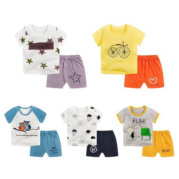 Симпатичные новорожденные мальчики девочки мальчиков одежды Чистый хлопок Дети Bodysuit летние короткие рукава Детская одежда устанавливает мультфильм тела костюм