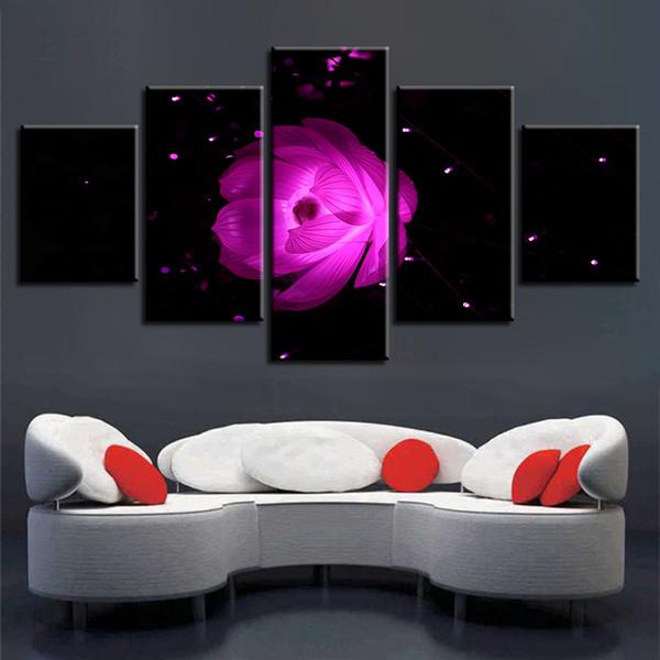 Imágenes Marco 5 Piezas Lirio de Agua Púrpura Pintura Modular HD Impresiones Lienzo Arte de La Pared Abstracta Flor de Loto Poster Home Decor