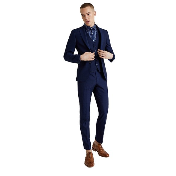 Navy Blue Men Suits Custom Made Wedding Suits Groomsmen Blazers Peaked Lapel 3 Pieces Jacket Pants Vest Evening Party Prom Wear Two-Button