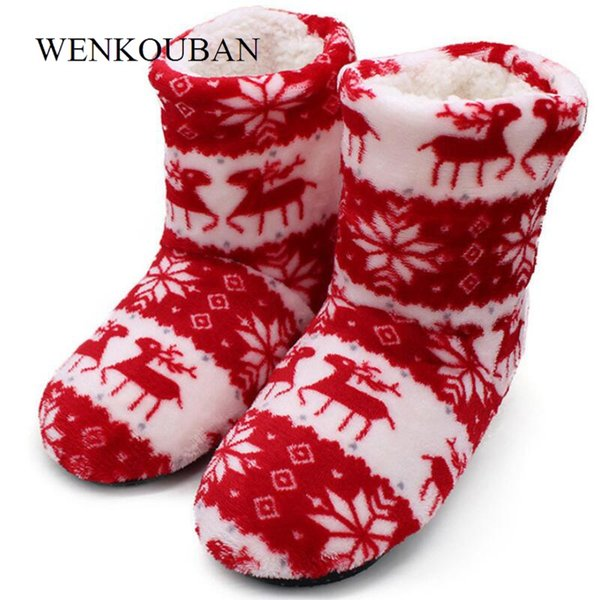 Winter House Boots Ladies Shoes Woman Christmas Elk Indoor Socks Shoes Warm Contton Bootie Plush Insole Anti-Skid Bota