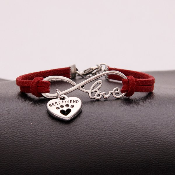 Good price Top Dark Red Leather Women Men Bracelets Popular Infinity Love Pets Dog Paw Best Friend Bangles DIY Handmade Weave Charm Jewelry