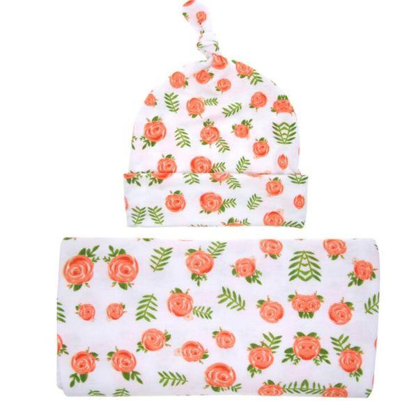 Style européen bébé fleur swaddle wrap couverture pépinière literie enveloppé serviettes avec un chapeau de fleur de haute qualité