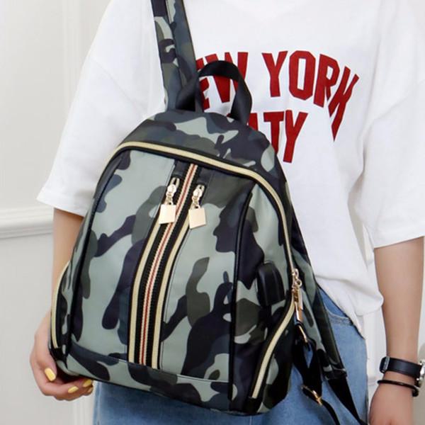Fashion Women Waterproof Nylon Headphone Backpacks USB Charge Shoulder Bags Daypacks 2018 Zip Casual Girl Book Bags