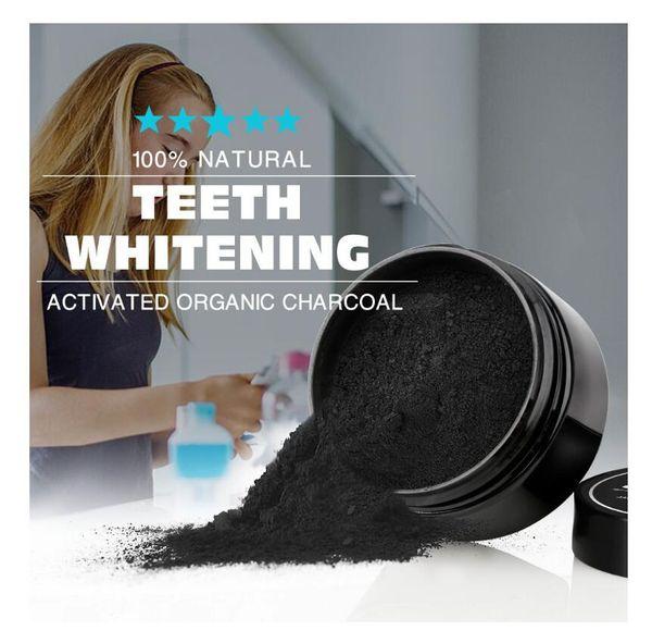 2018 Uso diario Blanqueamiento dental Polvo de escalamiento Higiene bucal Limpieza Embalaje Premium Activado Bambú Polvo de carbón vegetal dientes