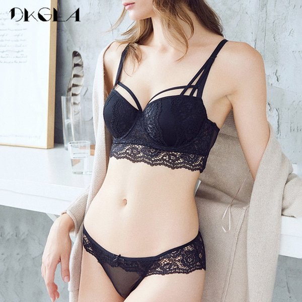 Black Sexy Bra and Panty Sets A B C Cup Brand Lingerie Lace Bras Thick Cotton Underwear Women Bra Set Push up Brassiere Deep V