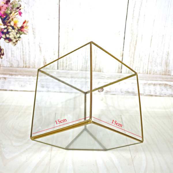 15*15CM Miniature Glass Terrarium Geometric Diamond Desktop Garden Planter For Indoor Gardening Home Decor Vases XWX9-674