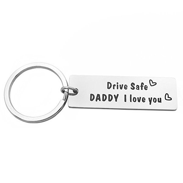 """Letter """"drive safe daddy i love you""""Steel titanium Puzzle keychain Key RingS"""