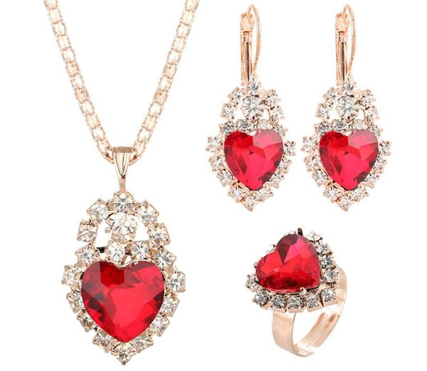 2019 Hot sales Bridal Jewelry Set fashion love heart Luxurious crystal gemstone Earrings Ring Pendant Necklace 7 color selection