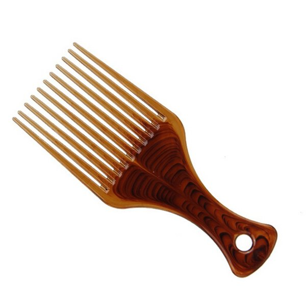 Big Size Wide Tooth Flat Comb Hair Fork Comb Insert Afro Hair Pik Lift Disc Combs Amber Carbon Antistatic