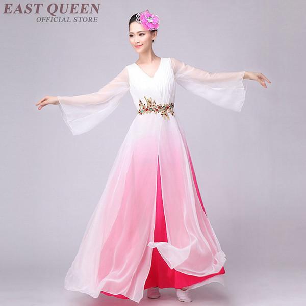 Venta al por mayor traje de baile folclórico chino vestido de la danza del agua chino vestido de hadas de la gasa traje de gasa Yangko XXL FF014 YQ