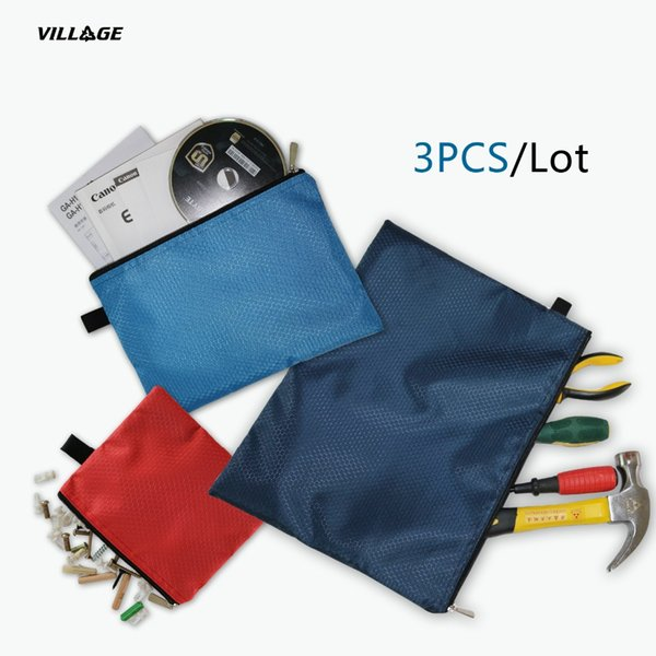 VILAGE 3PC Simple Style Tools Bag Heavy Duty Metal Zipper Storage Instrument Case Pouch Waterproof Chainsaws Tool Case Portable