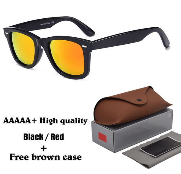 Excellent Quality unisex Sunglasses Plank Frame Metal hinge Glass lenses Fashion Men Sun glasses Women glasses with brown cases and box