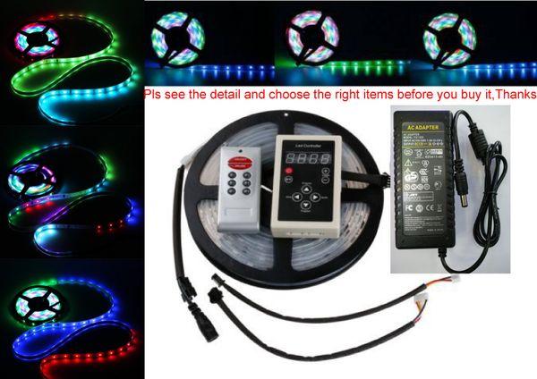 DC12V 5 M 10 m Dijital RGB 133 Rüya renk 6803 IC su geçirmez LED Şerit 5050 + RF uzaktan kumanda + 12 V güç kaynağı LED RGB kiti