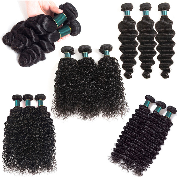 En İyi Kalite İnsan Saç Dokuma Paketler Doğal Siyah Renk 100% Gerçek Brezilyalı Bakire Saç Uzantıları Gevşek / Derin / Su Dalga Gevşek Derin Kıvırcık
