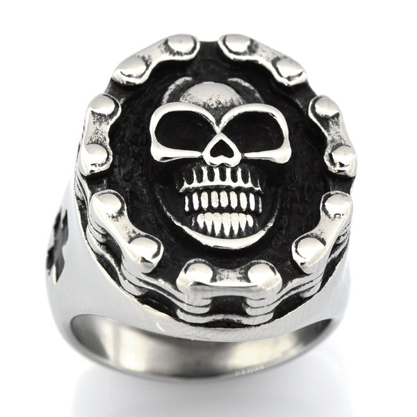 FANSSTEEL STAINLESS STEEL mens or womens JEWELRY motor cycle chain cross gothic skull biker ring GIFT 13W99