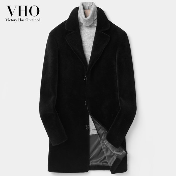 VHO natural real fur lamb wool coat for men medium long fashion Shearling motorcycle genuine leather jacket warm thick plus size