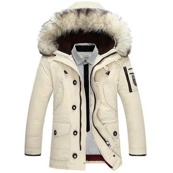 super popular 518dd e344b Großhandel Winterjacke Herren Waschbär Fell Kapuze Weiß Daunenjacke Warme  Parka Windbreaker Oberbekleidung Jacken Beige Schwarz Orange Multi Pockets  ...