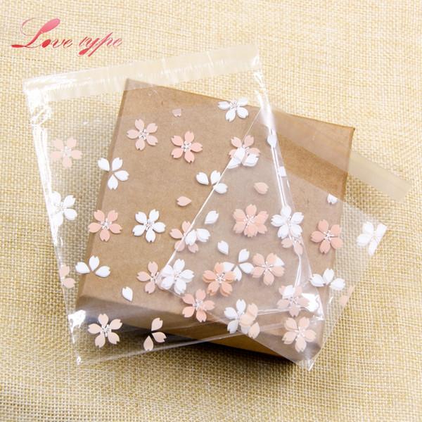 sacchetti di plastica elfo-adesivi 100 PZ Cherry Blossoms Candy Cookie Sacchetti di plastica autoadesivi per biscotti fai da te spuntino cottura pacchetto ...