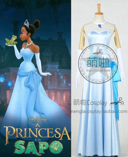 Tiana Adult Costume The Princess and The Frog Cosplay Blue Long Dress Necklace