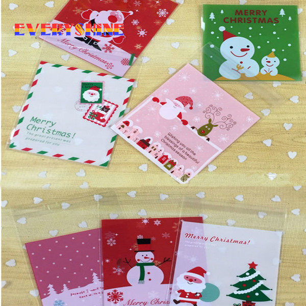 Cheap for Sale 28pcs/lot Merry Christmas Plastic Bags Cookie Packaging s Self Adhesive Bags for Children Gifts SD215