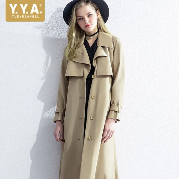 British Office Ladies Autumn 2018 Long Trench Coat Khaki Single Breasted Belted Windbreaker Coats Women Sashes Slim Fit Trench