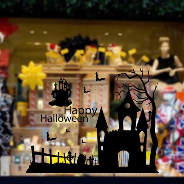 Happy Halloween Serie Wall Stickers Vetrina Vetrata Soggiorno Decorare Paster Impermeabile Home Decor Vendita calda 6bs Ww