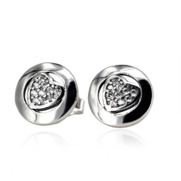 2018 Nouveau authentique 925 coeur en argent sterling Signature avec cristal Boucles d'oreilles pour les femmes de cadeau de mariage s'adapter Bijoux Pandora